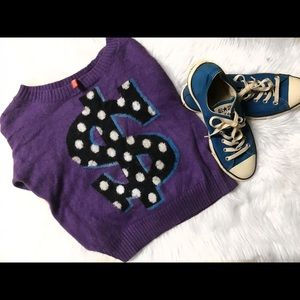 Vibrant Purple sweater paired with converse